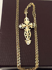 Religious 14k yellow Gold Jesus Crusifix Pendant Singapore Chain Diamond cut