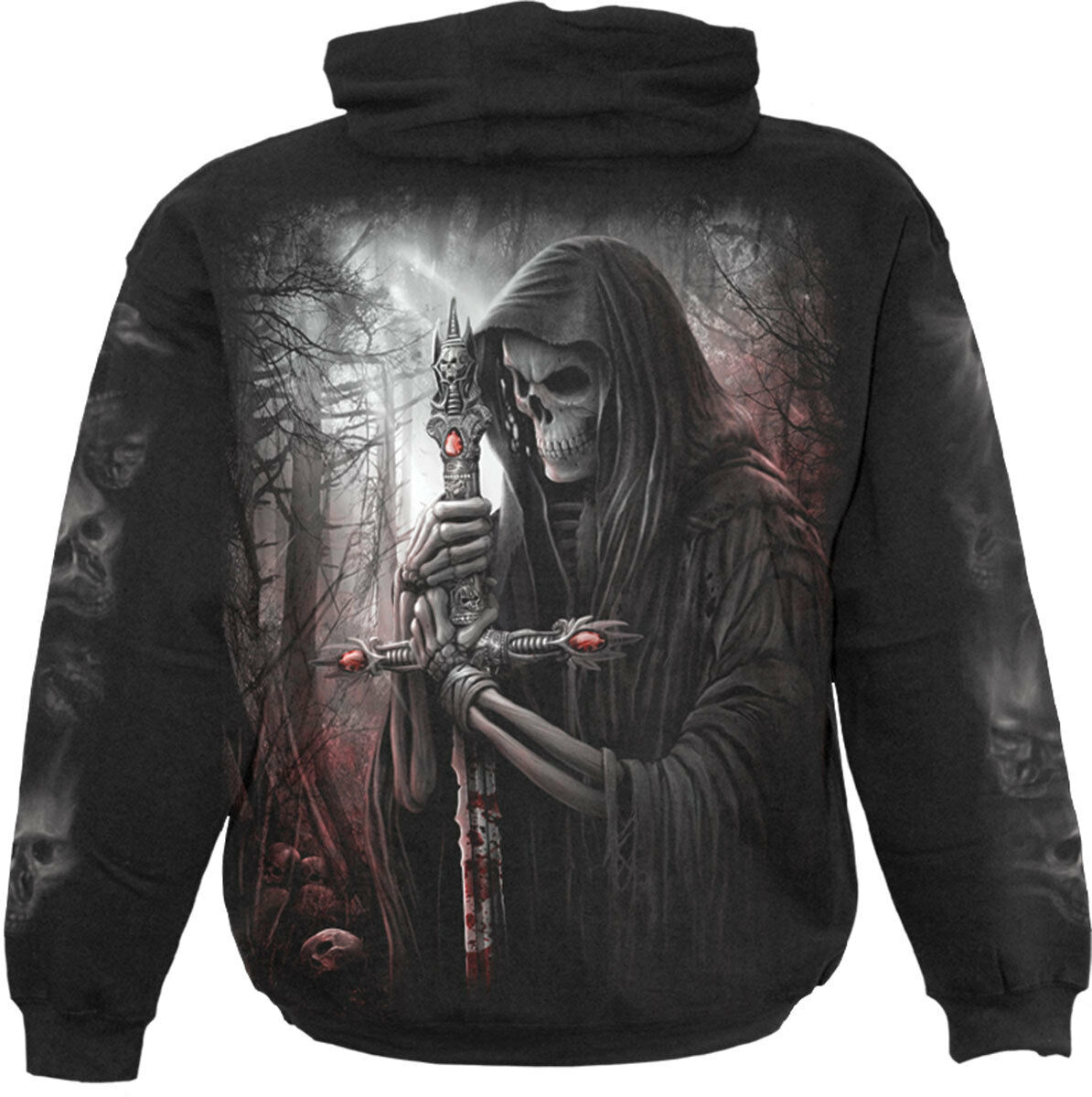 Spiral Direct SOUL SEARCHER Hoodie Skeleton/Biker/Reaper/Skull/Motor Bike/Hood