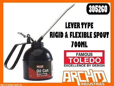 700ML LEVER TYPE RIGID /& FLEXIBLE SPOUT TOLEDO 305260 OIL CAN BRASS PUMP