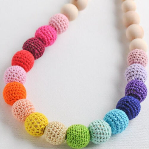 5X Crochet Round Wood beads cotton knitted beading Bracelet Necklaces Decoration