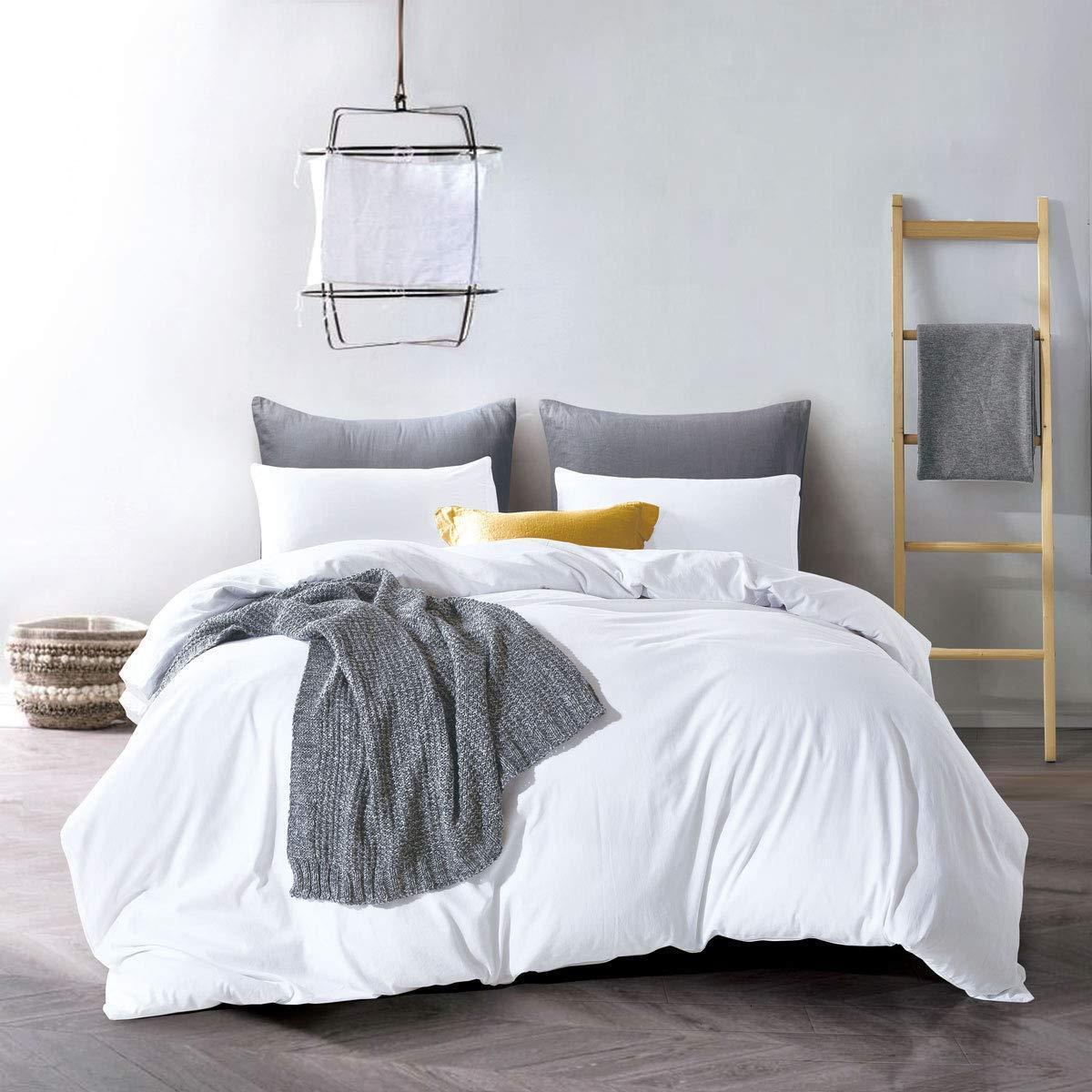 ATsense Duvet Cover Queen, 100% Washed Cotton, Bedding Duvet Cover Set, 3-Piece,