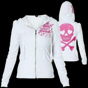 SINFUL by AFFLICTION Women's LUNAR HOODIE Jacket Skull Biker Pink Wings