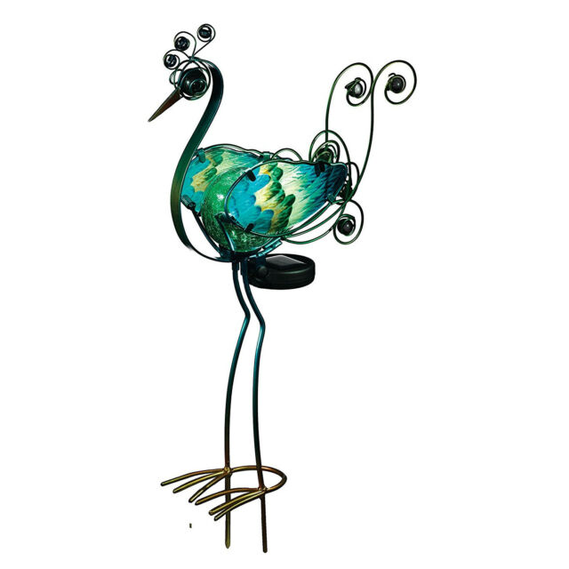 Superbe Solar Peacock Garden Stake 21in Decor Light Out Door Lawn Statue Yard  Ornament
