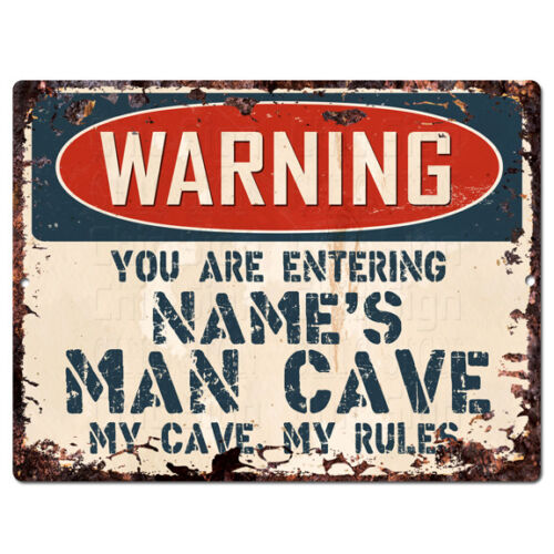 PP4226 WARNING NAME/'S MAN CAVE Custom Personalized Chic Sign Decor Funny Gift