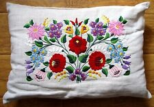 1930s hand embroidered Hungarian FOLK EMBROIDERY PILLOW COVER Kalocsa Hungary