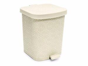 Ivory-8-Litre-Medium-Lace-Style-Pedal-Bin-Bathroom-Kitchen-Inner-Bucket-Waste