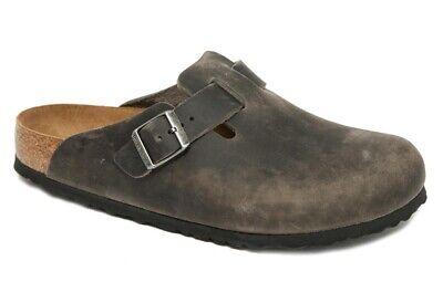 Birkenstock Clogs BOSTON iron gray oiled waxy black leather regular Softfootbed   eBay