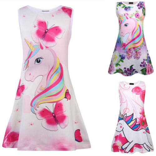 UK Lovely Kids Girls Unicorn Floral Dresses Sleeveless Cute A Line Dress 4-9Y