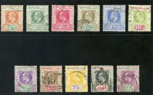 Seychelles-1906-KEVII-set-complete-very-fine-used-SG-60-70-Sc-52-62