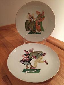 "VTG Favolina Polish Folk Dance Dinner Plates 9.5"" Polka & Polonez Poland ~ EUC"