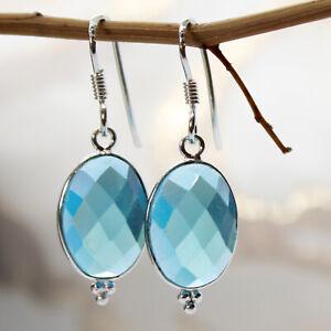 Blautopas-Ohrringe-Silber-925-Ohrhaenger-3-5cm-lang-facettiert-oval-Blau-Topas-ts