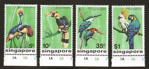 Singapore Sc 236-239 MNH. 1975 Birds, complete matched set with sheet margins