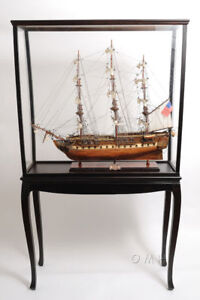 "Large Tall Ship Model Boat Wood Display Case 40"" x 69"" Cabinet Stand w/ Legs New"