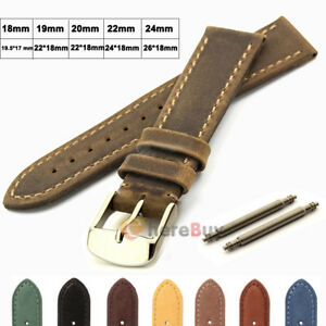 Suede-Genuine-Leather-Watch-Strap-Band-Teacher-Stainless-Steel-Buckle-and-Bars