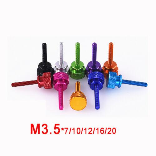 M3.5 Aluminium Anodised Color Knurled Thumb Screws High Head Hand Grip Knob Bolt