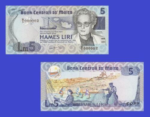 Malta 5 Maltese Lira 1986 Agatha Barbara Reproduction UNC