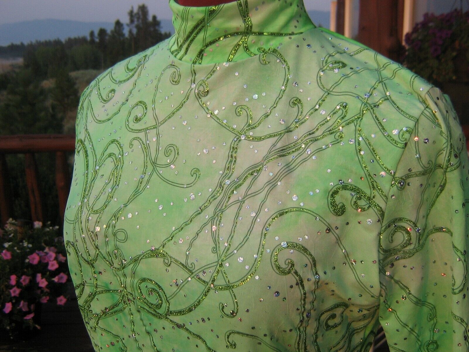 5 Girl sizes green tyedye shine western rail show shirt leadline, xs S M L xl