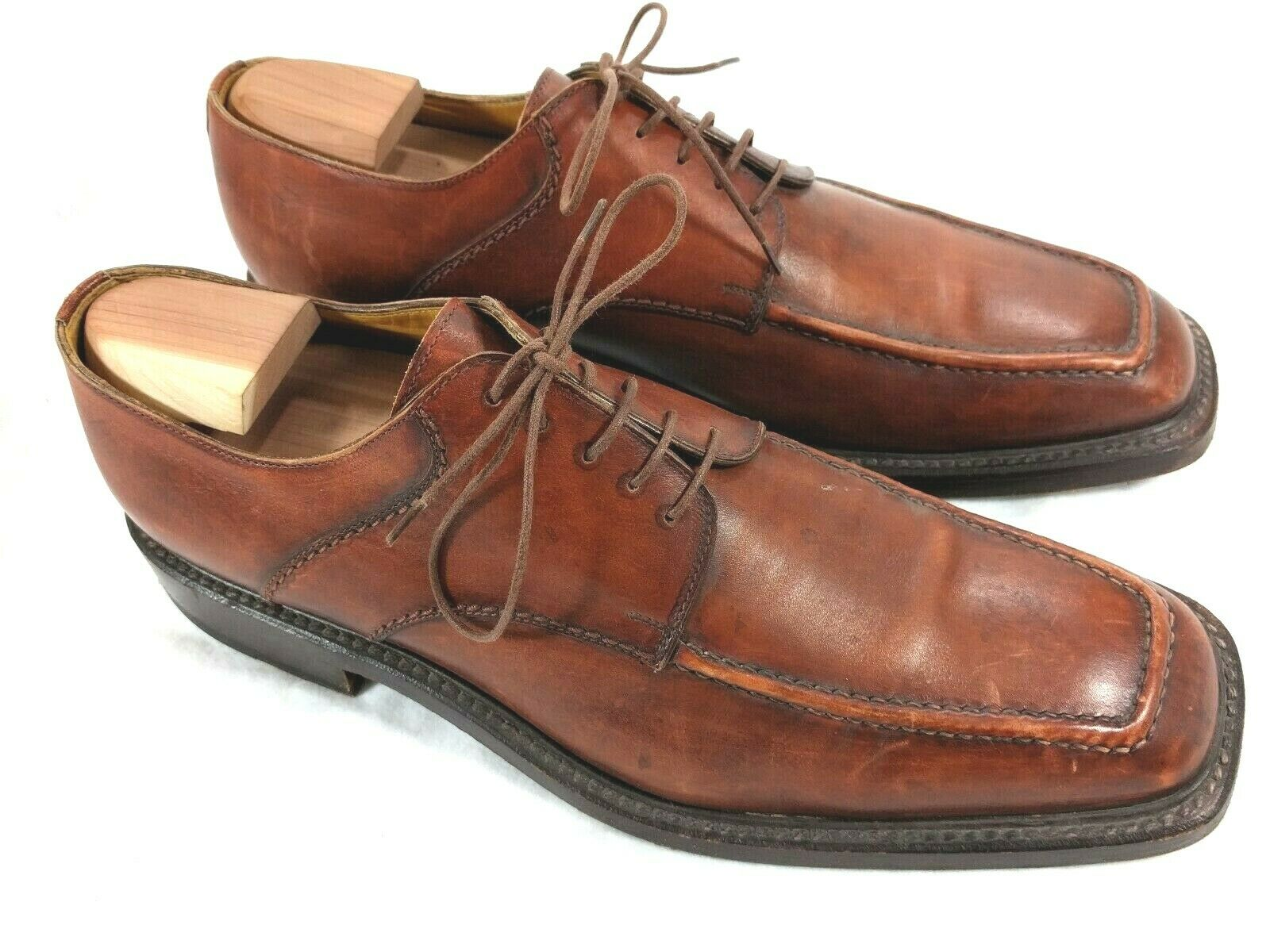 Campanile Men's Size 9 Apron Toe Oxford Light Brown shoes Made in