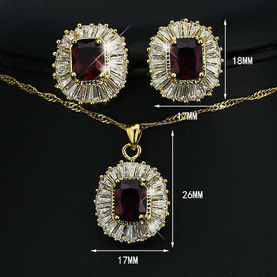 Fashion Party Jewelry Set 18K Gold Plated Jewelry Sapphire Amethyst Zirconia Set