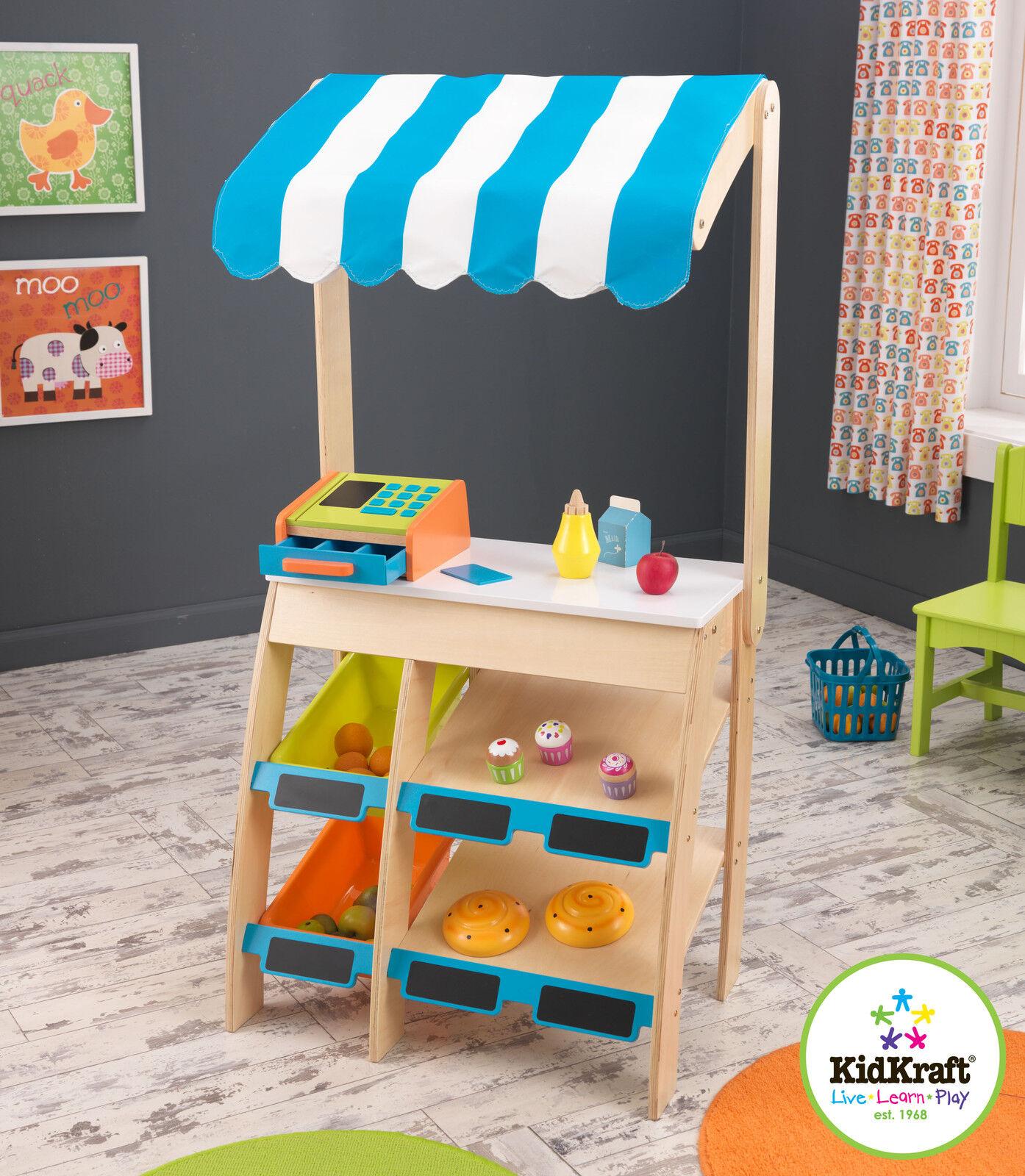 Kidkraft Einkaufswagen Marktplatz Kinder Holz Marktstand Spielzeug Shop
