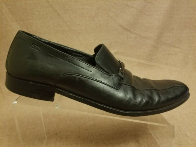 Hugo Boss Mens Black Leather Slip On Loafers Dress Shoes Size 10 W