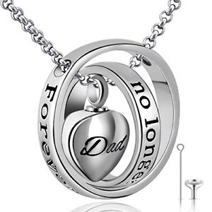 Urn Necklaces For Ashes No Longer My Side Forever My Heart Mom Dad Cremation Ebay