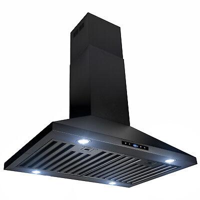 "30"" Island Mount Black Stainless Steel Touch Panel Kitchen Range Hood"
