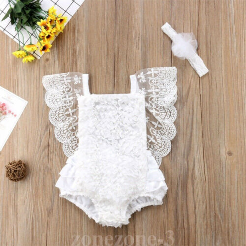 Newborn Baby Girl Ruffle Lace Romper Jumpsuit Bodysuit Clothes Outfit Summer