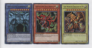 SLIFER-OBELISK-RA-Set-of-3-Egyptian-God-Cards-LC01-Legendary-Yu-Gi-Oh