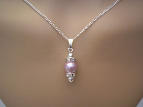 Pearl /& Diamante Drop Pendant Chain Necklaces for women Brides Bridesmaids 63B