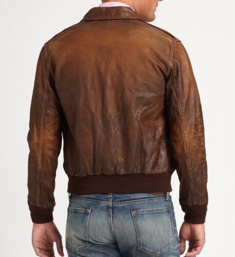 Polo Ralph Lauren homme marron vintage Slim Leather Farrington Bomber Veste Neuf avec étiquettes