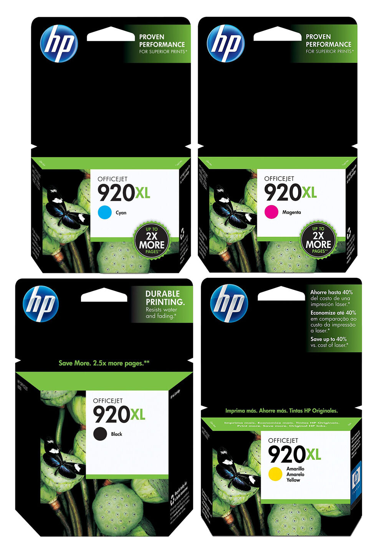 genuine new hp 920xl ink cartridge 4 pack for officejet 6000 6500 7000 7500 ebay. Black Bedroom Furniture Sets. Home Design Ideas