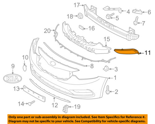 KIA OEM 14-16 Forte Front Bumper Grille Grill-Cover Right 86564A7000