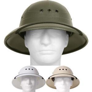 Pith Helmet Lightweight Safari Hat Sun Rain Plastic Vietnam Jungle ... 0c43dab45d0