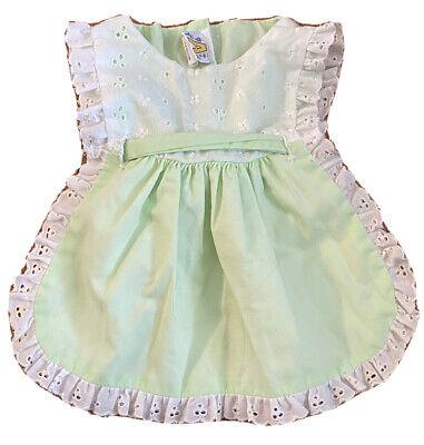 Baby Girl Size 18 Months Vintage Apron Dress Green Eyelet Lace Open Sides Ebay
