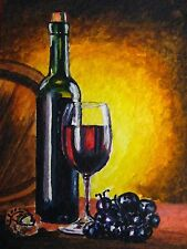 Painting Red Wine Barrel Glass Bottle Alcohol Drink Grapes Farm ACEO Art