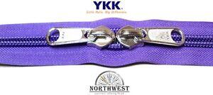 YKK Nylon Coil Zipper Tape # 10 Purple 25 yards with 50 Black Zipper Sliders