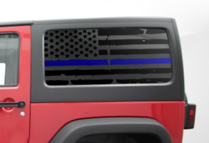 Universal Fit Blue Line Flag Decal USA American Flag CV2