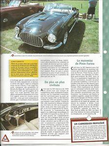 VOITURE FERRARI 342 AMERICA FICHE TECHNIQUE AUTOMOBILE 1952 COLLECTION AUTO