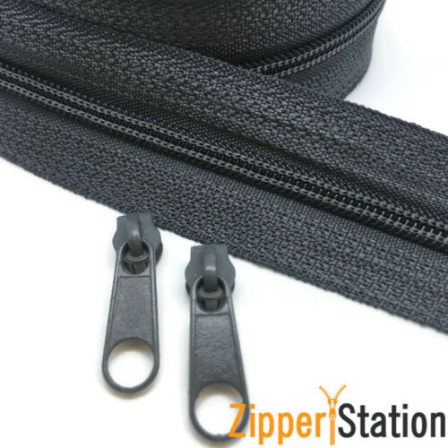or 10 Continuous Zip 5 Meters of Size 3,5,8 9 colours with 10 Zipper Slides