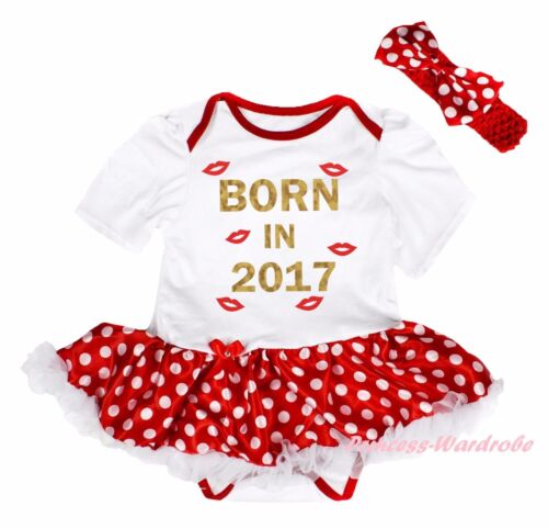 Born In 2017 Lips White Cotton Bodysuit Minnie Dot Girl Baby Dress Outfit NB-18M