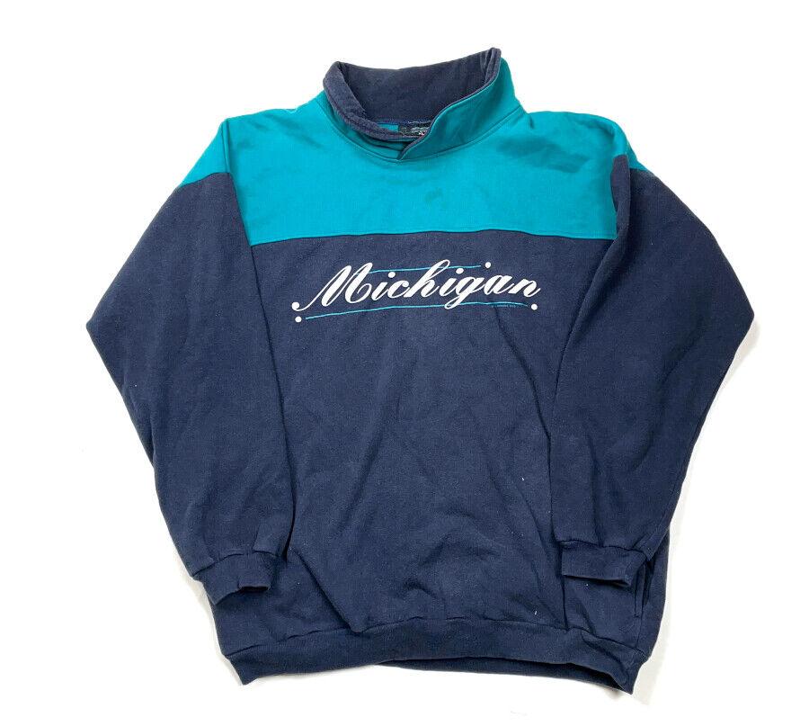 VTG Art Unlimited 1993 Michigan Script Puffy Graphic Sweatshirt Colorblock XL