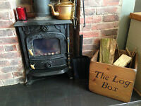 (NEW) WOODEN LOG BOX ~ STORING WOOD/LOGS ~ FIRE PLACE STORAGE ~ RUSTIC BASKET