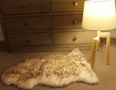 Dark Brown Tip 100CM Australian Sheepskin Lambskin Rug Pelt ECO-TAN SANITIZED