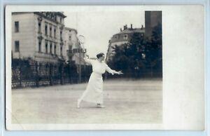 Woman-playing-tennis-long-white-dress-real-photo-postcard-RPPC-c-1910