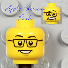 NEW Lego Male Boy MINIFIG HEAD City Police Agents Smile Black Rimmed Eye Glasses