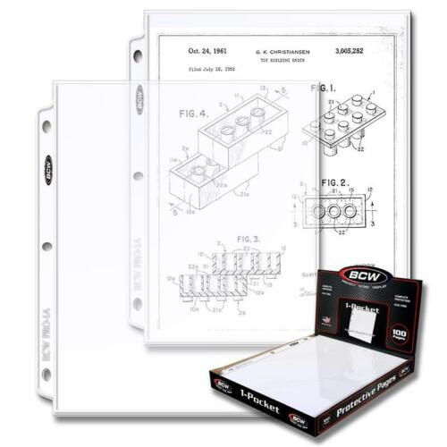 100 CT. BOX BCW PRO 1-POCKET DOCUMENT PAGES 8.5 X 11