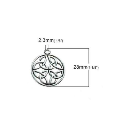 10 X Tibetan Silver CELTIC KNOT CARVED HOLLOW 28mm x 25mm Charms Pendants