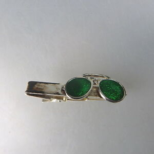 Gehorsam Figürliche Krawattenklammer Brille Emaille - Ungetragen (49759)