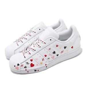 adidas originals superstar w white pink heart valentine